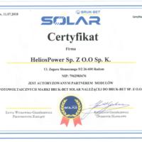 Certyfikat marka BRUK - BET SOLAR